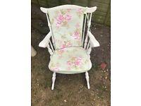 White rocking arm chair