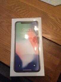 New I phone x silver 64gb.
