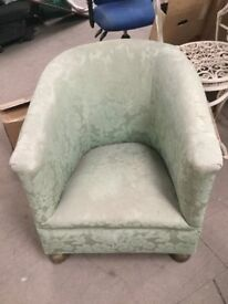 Victorian Style Tub Chair with Wooden Bun Feet