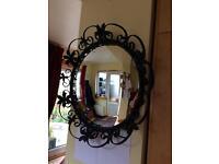 Vintage/Retro Mirror With Dark Wrought Iron Floral Decorative Frame Round