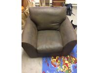 2 seater sofa & arm chair (brown, used)