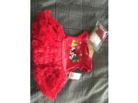 Disney Minnie Mouse Xmas dress and tights, 3-6 months, bnwt