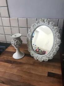 Matching Ornate Mirror & Candle Holder