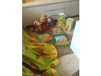 Winne and poohs curtain and shad light and table lamp and toys with 3 pictures
