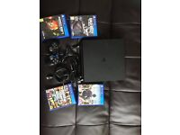 ps4 slim 1 controller all leads mic and 4 games