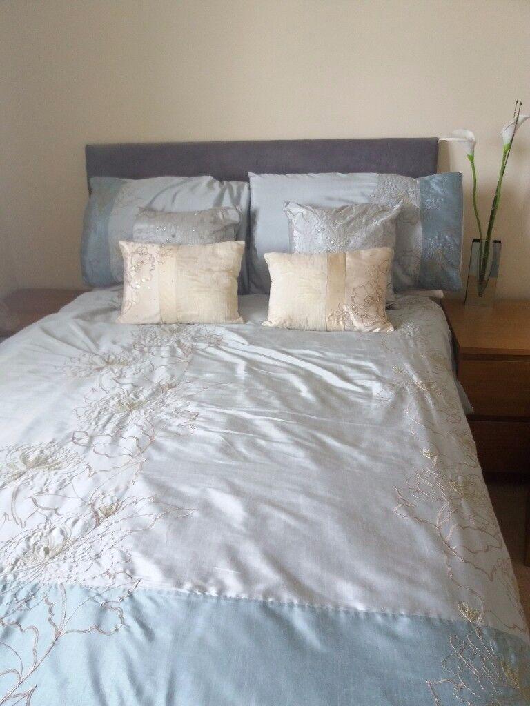 Matching Bedroom Set, Duvet, Pillows, Cushions, Curtains, Aqua, Gold Embroidery