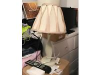 Cream table lamp with silk lampshade
