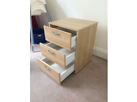 3 drawer storage unit on casters