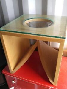Oakville UNIQUE SIDE TABLE Wood and Glass SUNKEN TOP Half Circle