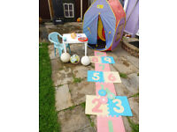 selection of garden toys tent, hop scotch table and chair