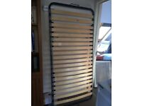 Almost new sturdy, single bed with slats & firm mattress