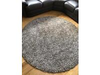 Brown and cream round rug
