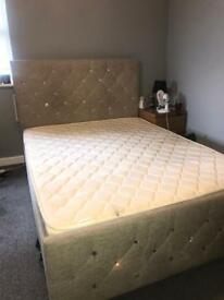 Luxury double bed- neutral beige colour with diamanté and memory form/ spring mix double mattress