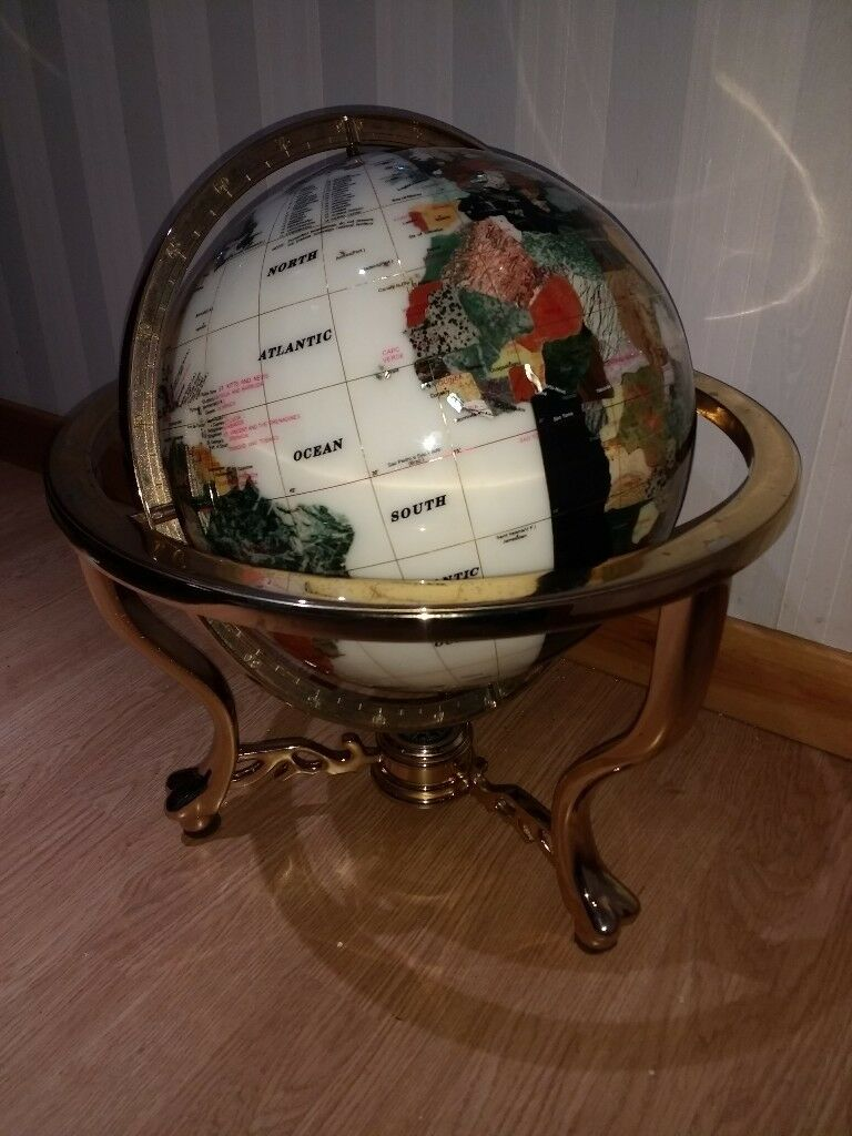 "LARGE 21"" Gemstone Globe with Compass / Brass / Stones / Gem / semi precious"