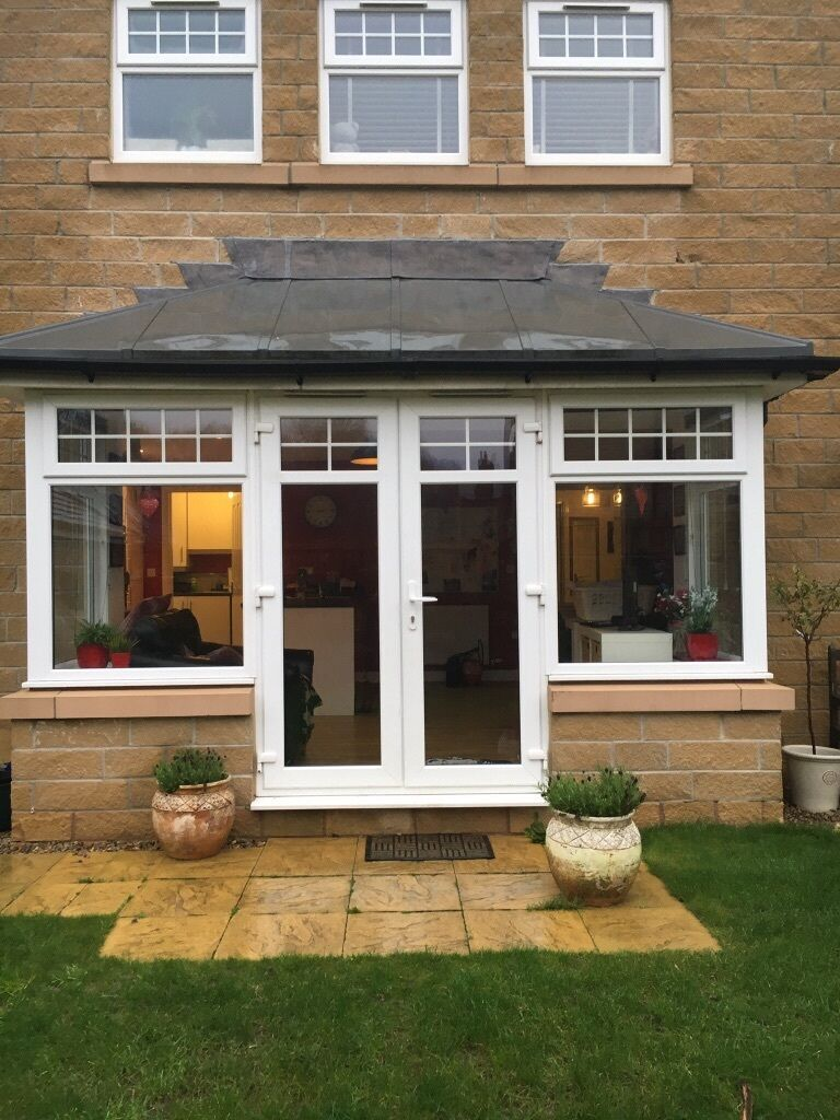 Upvc bay window with french doors in menston west for Upvc french doors yorkshire