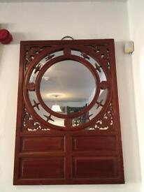 Chinese hard wood framed wall mirror
