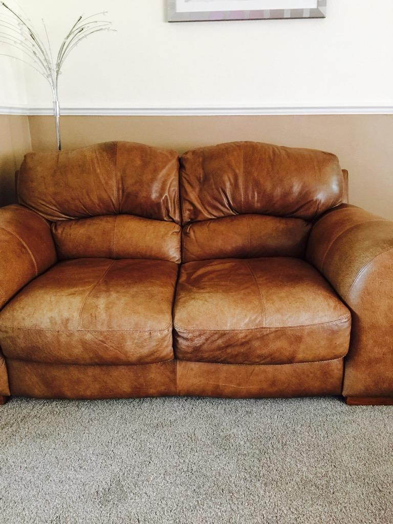 Tan Leather Sofas Excellent Condition In Grays Essex