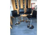 Bar stools (4)black faux leather