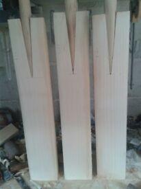 3 English willow Cricket Bats, laminated, double pressed, amazing Ping, handmade custom