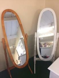 Cheval mirror sale pine and white
