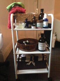 Therapy white trolley and therapy stool