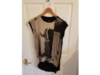 ALLSAINTS Size small (fits size 12) black and grey print sleeveless top