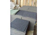 Hard wearing carpet tiles 90 pence each, green or red fleck