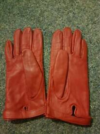 New red leather gloves