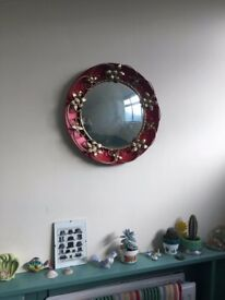 Vintage Circular Fish Eye Mirror with Red Back and Gold Flowers