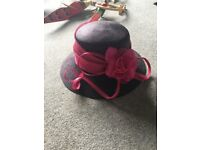 Jacques Vert purple and pink hat and handbag