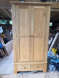 Solid Oak Wardrobe - practically new!