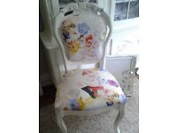 Newly reupholstered french louis shabby chic chair