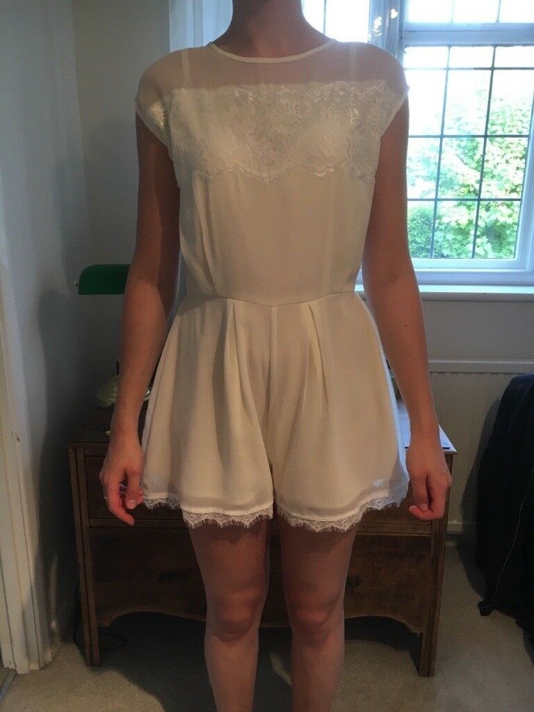 f74b8a87b5 Pastel yellow cream playsuit w  white lace