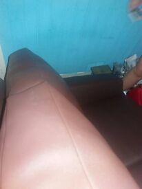 3 seater brown leathet sofa