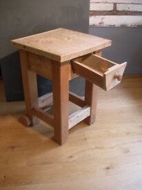 Solid Pine Butcher's Block. Utensil drawer. Scrubbed top.