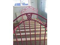 Children's Pink Metal Bed