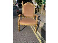 Pair of Armchairs, velvet upholstry, wooden legs, good condition,