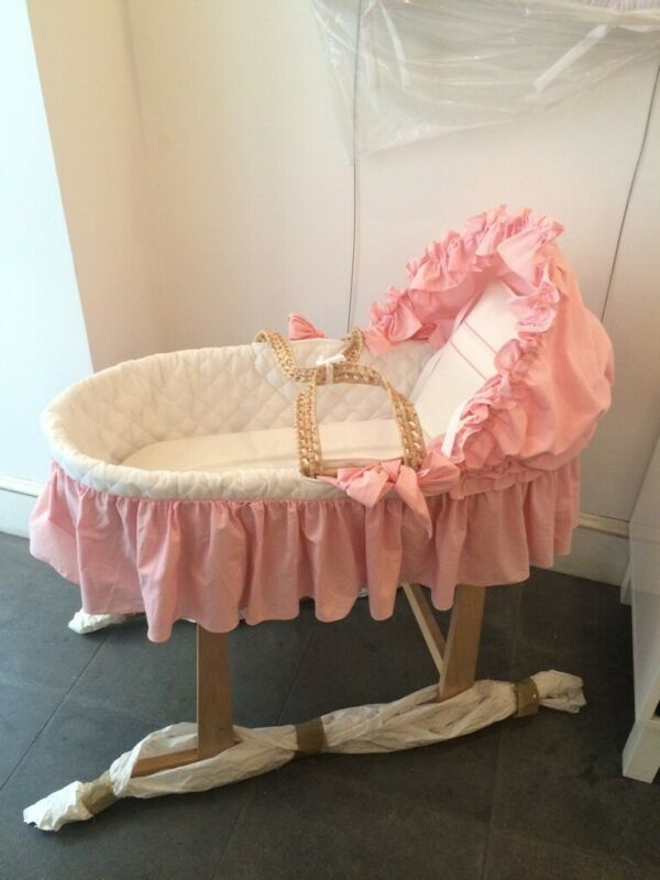 Moses Basket white quilted pique and pink gingham- includes stand