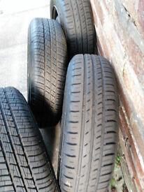 Almost new tyres on steel wheels plus wheel trims.