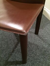 6 Faux Brown Leather Dining Chairs FREE!
