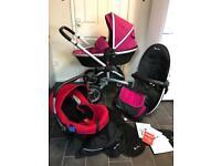 silver cross surf 2 pram travel system pushchair ventura car seat pink girls 3in1 buggy