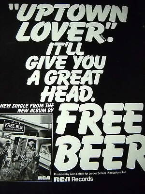 FREE BEER 1976 poster poster ad UPTOWN LOVER It'll Give You Great Head MINT!
