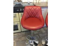 4 burgundy red kitchen bar stools