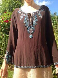 Karen Millen 100% silk beaded blouse, size 12