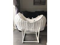 White WIcker Moses Basket & Stand (Mothercare)