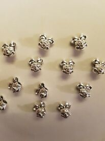 Silver plated Minnie mouse charms