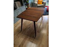 1950s midcentury teak solid wood retro extendable dining table