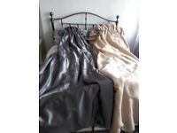 """Beautiful hand made curtains. Shot silk set of grey 1 of gold. 108""""long. 50"""" wide each curtain"""