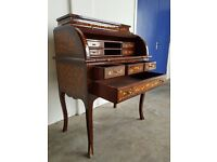 FRENCH LOUIS XV ROLL TOP DESK BUREAU WRITING TABLE INLAY FURNITURE INLAID UNIT DELIVERY AVAILABLE