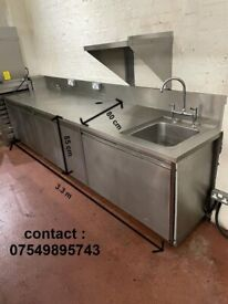 stainless counter with single sink